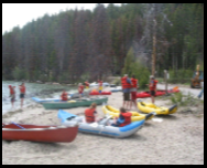 Campers ready their canoes